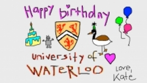 Kate Darling's digital birthday card, including a cake, robot, University shield, Canada goose, and balloons.