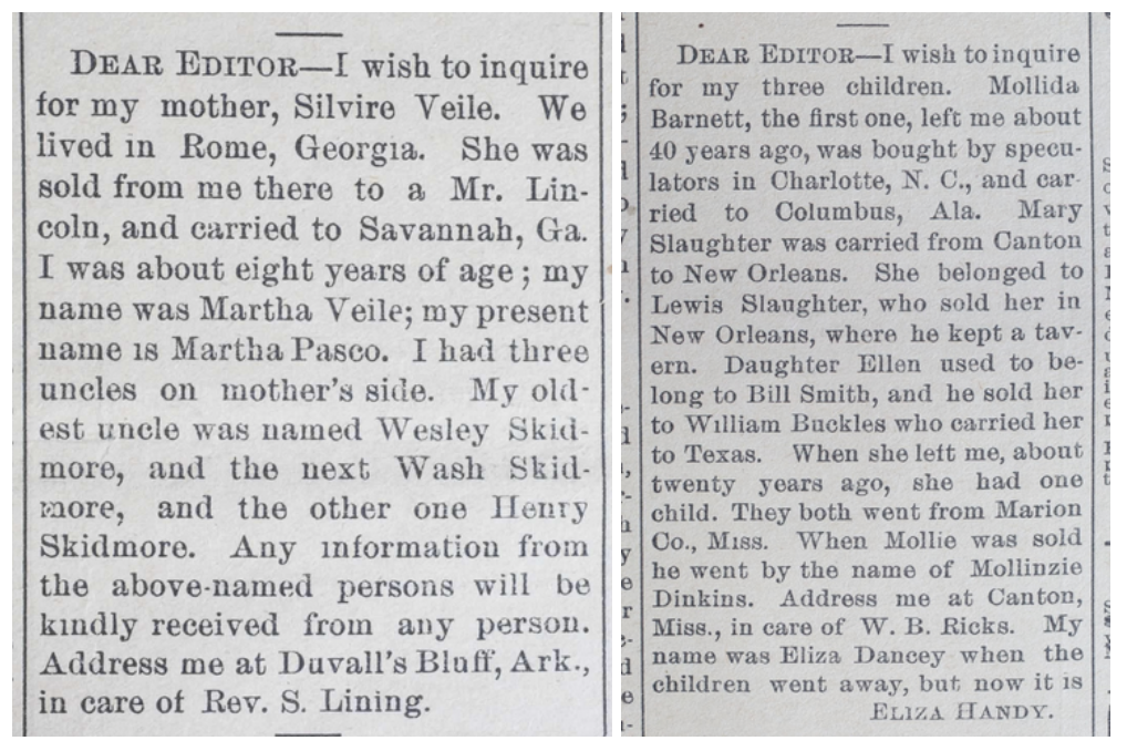 A pair of advertisements placed following the Civil War, as African Americans sought to locate family lost through slavery.