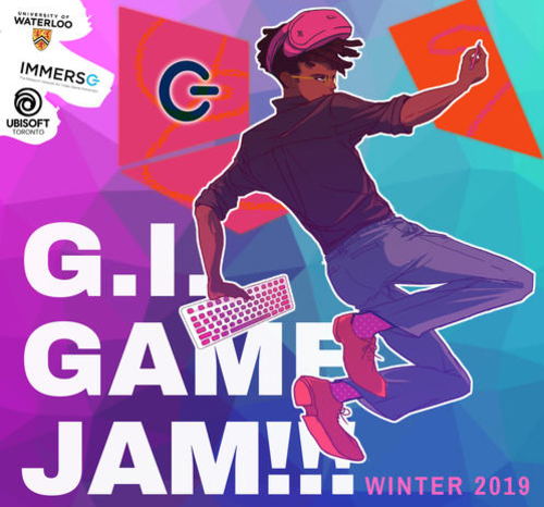 "A young hacker-type gamer armed with a pencil and computer keyboard jumps over the ""GI Game Jam"" logo."