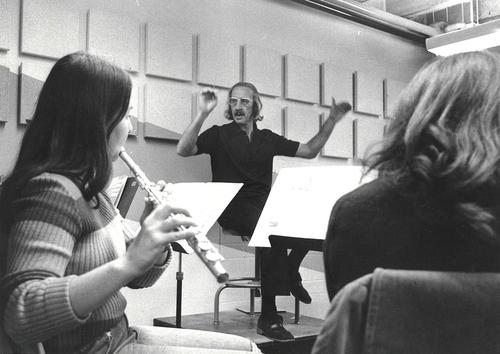 Alfred Kunz conducts a student orchestra in this undated photo.