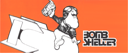 A cartoon bomber pilot rides a bomb with a pint in his hand, next to the Bombshelter logo.
