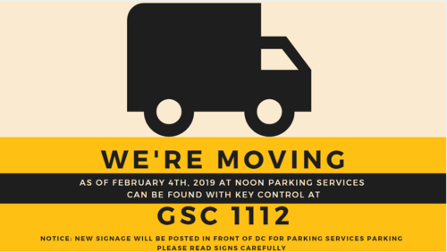 A moving van logo advertising the upcoming move of Parking Services to GSC 1112.