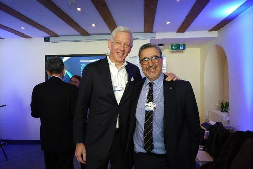 Chancellor Dominic Barton and President Feridun Hamdullahpur at Davos, Switzerland.