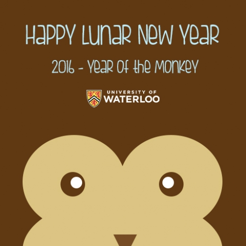 Happy Lunar New Year image with a stylized monkey face.
