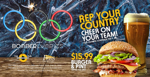 Bomberlympics banner with Olympic rings and a hamburger.