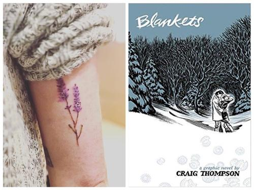 A close-up of a tattoo juxtaposed with a book cover.
