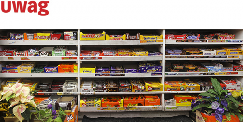 A typical snack bar full of chocolate bars.