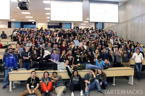 A group photo of StarterHacks participants.