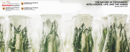 The Nature of Experiment banner featuring flasks filled with plant life.