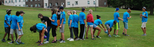 Peace Campers play a relay game.