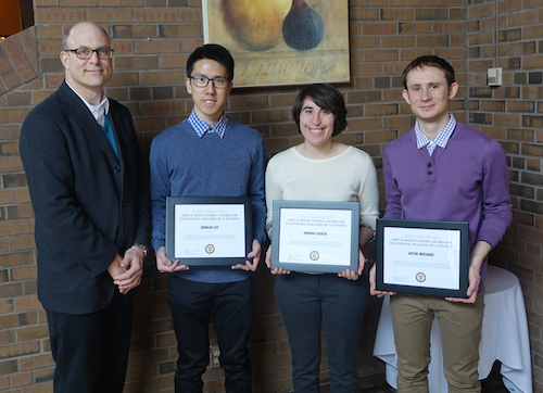 Jeff Casello (AETS Committee Chair) with teaching award recipients Quinlan Lee (Economics), Amanda Garcia (Systems Design Engineering), and Anton Mosunov (Pure Math).