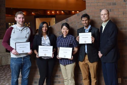 Marcus Abramovitch (Chemistry), Heidi Fernandes (School of Pharmacy), Caelan Wang (Combinatorics and Optimization), Apratim Chakraborty (Mechanical and Mechatronics Engineering) and Jeff Casello (AETS committee chair).