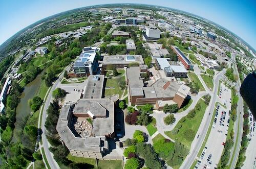 A fish-eye-lens view of the University campus.