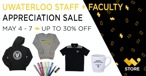 Staff and Faculty appreciation sale banner featuring clothing.