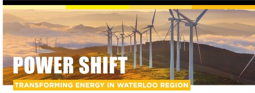 Power Shift Lecture logo showing a line of wind turbines.