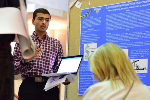 Advait Maybhate, a grade 11 student from Sir John A. MacDonald Secondary School in Waterloo, presents his findings.