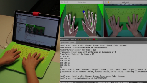 Researchers evaluate and demonstrate finger, hand, and posture identification as keyboard shortcuts. By detecting the hand and finger used to press a key, and open or closed hand postures, a key press can have multiple command mappings.