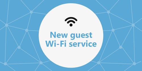 New guest Wi-Fi service banner featuring the wireless network icon.