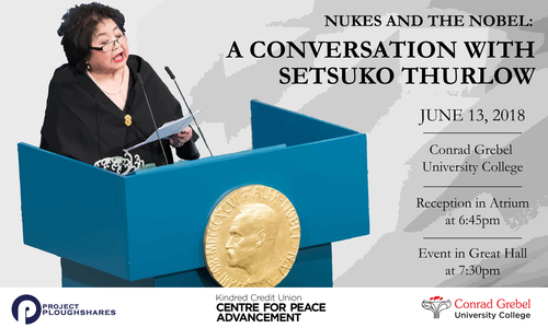 A Conversation with Setsuko Thurlow banner, showing Ms. Thurlow speaking at a lectern.