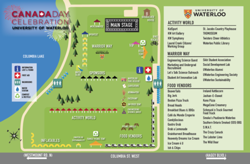 A map showing the Canada Day attractions.