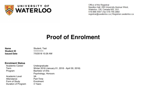 A screenshot of the new Proof of Enrolment website.
