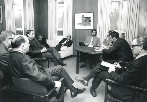 President Burt Matthews gives a press conference in his office in 1971 with Bob Whitton taking notes.