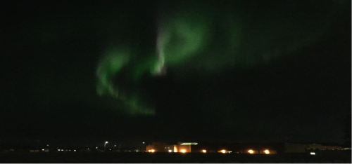 The Northern Lights visible above Fort McMurray, Alberta.