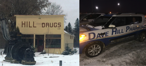 On the left, the historic Hill Drug building; on the right, pharmacy delivery vehicles.