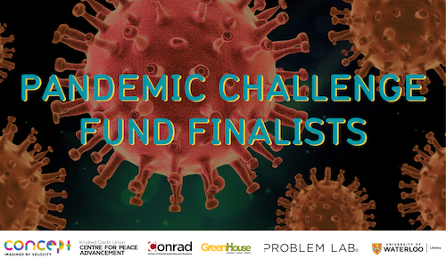 Pandemic Challenge Fund finalist banner showing microscopic virus images.