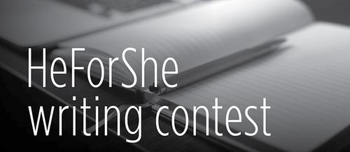 """HeForShe Writing Contest"" superimposed over an open book with a pencil in the margins."