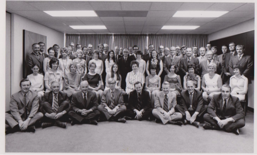 Career Services department staff in the newly built Needles Hall in 1972.