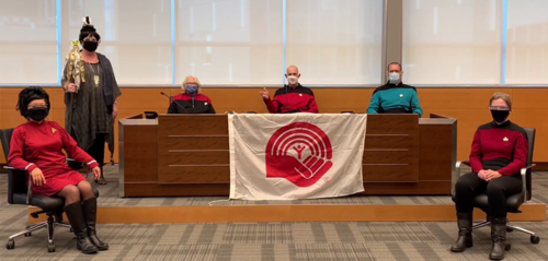 The University's six Deans dressed as Star Trek characters.