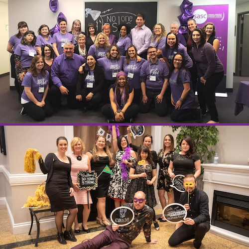 Two images of SASC workers and leaders in purple shirts and in formal wear at a masquerade event.