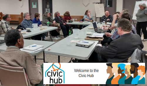 Community members discussing and collaborating in SDC's Civic Hub.