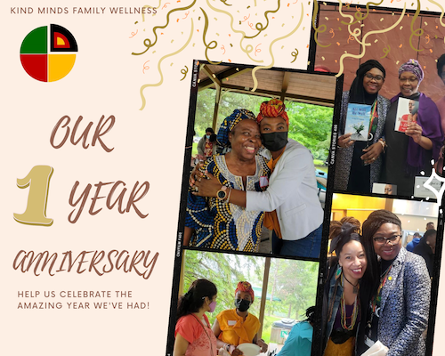 A collage of staff, volunteers, and clients of Kind Minds Family Wellness celebrating the organization's one-year anniversary.