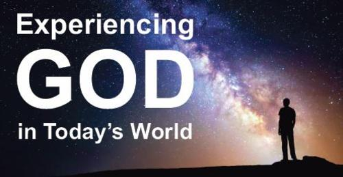 """Experiencing God in Today's World"" image featuring a person silhouetted against the Milky Way."