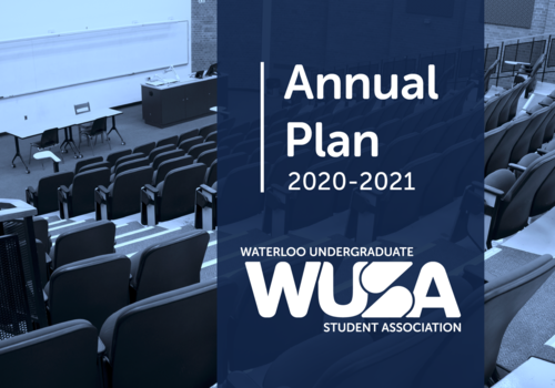 WUSA Annual Plan banner featuring a lecture hall.