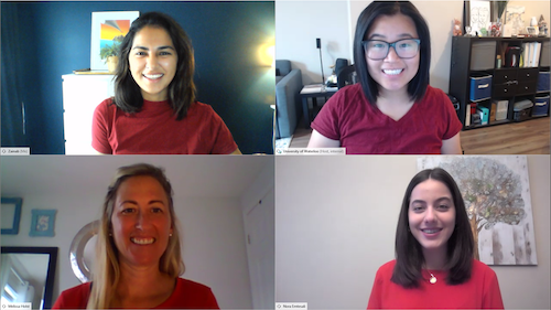Four videoconference participants wear red in support of United Way.