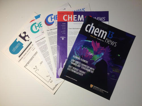 An array of Chem 13 magazines from years past.