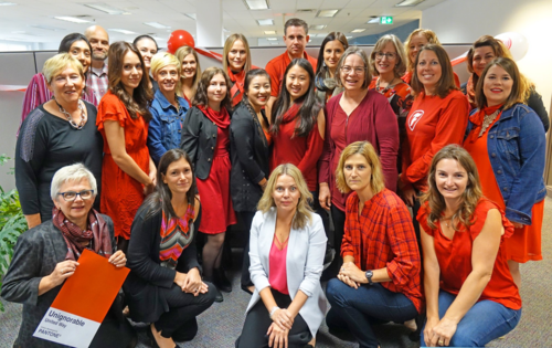 University Relations staff members go red for the United Way.