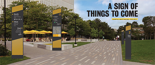 An image showing wayfinding prototypes on the University campus.