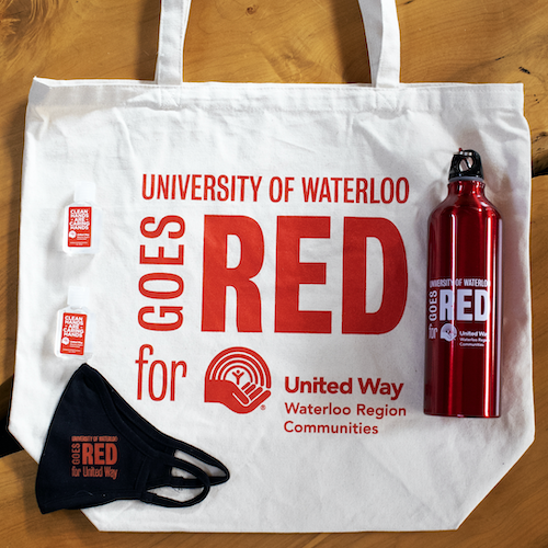 a tote bag, water bottle, and cloth mask.