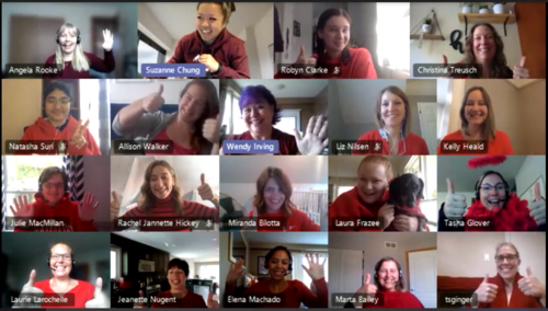 A video call with a number of people dressed in Red for the United Way.