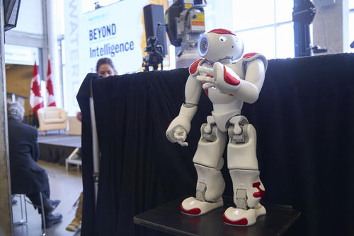 The Faculty of Engineering's Nao robot at the launch of Waterloo's AI institute.