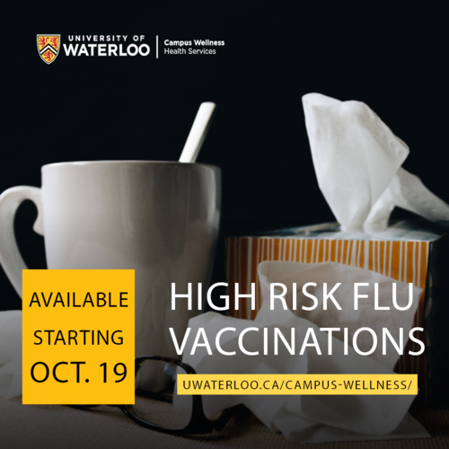 "A mug and box of tissues with the words ""high risk flu vaccinations"" superimposed over them."