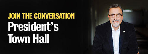 Join the Conversation - President's Town Hall banner image.