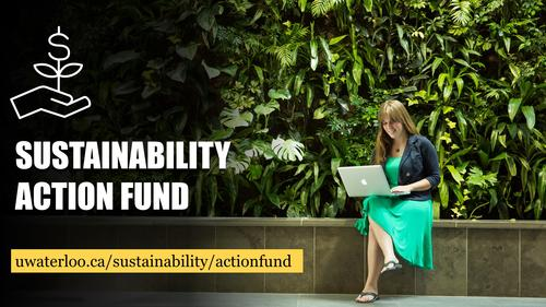 Sustainability Action Fund banner featuring a woman sitting with a laptop in front of a living wall.
