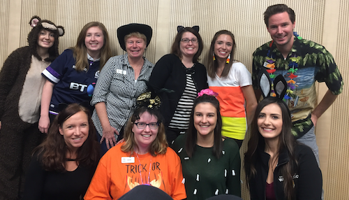 Housing's Occupancy and Marketing Services dressed up for Halloween.