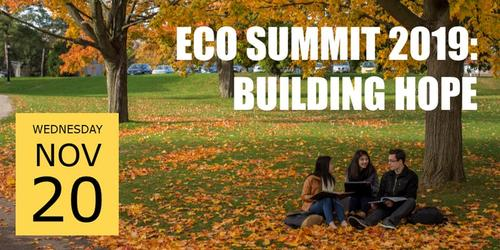 November 20 Eco-Summit image showing students in a fall setting.