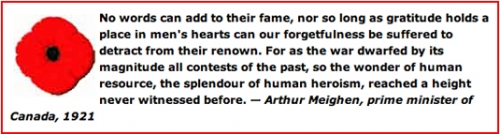 A poppy and a quote from Prime Minister Arthur Meighen.